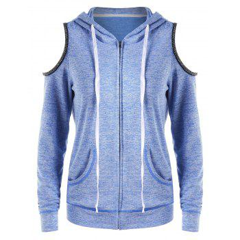 Zip Up Cold Shoulder Hoodie