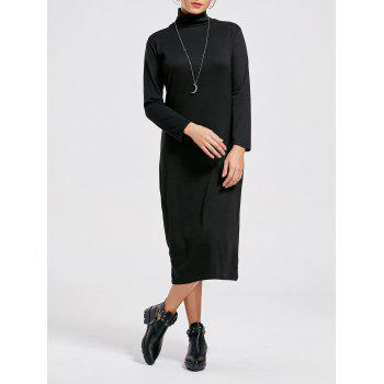 High Neck Long Sleeve Midi Bodycon Dress