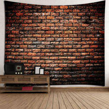 Natural Stone Brick Print Waterproof Wall Art Tapestry - DEEP BROWN W59 INCH * L59 INCH