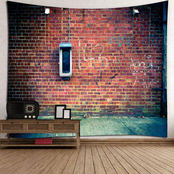Brick Scrawl Waterproof Wall Tapestry - DEEP BROWN W79 INCH * L59 INCH