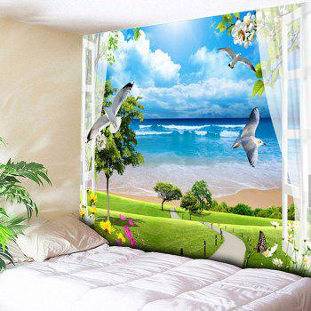 Beach Scenery Pattern Wall Hanging Tapestry