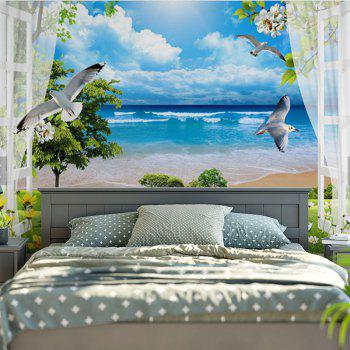 Beach Scenery Pattern Wall Hanging Tapestry - SKY BLUE W79 INCH * L59 INCH