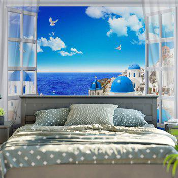 Seaside Castle Printed Wall Hanging Tapestry - SKY BLUE SKY BLUE