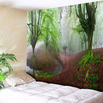 Decorated Wall Hanging Forest Print Tapestry - GREEN GREEN