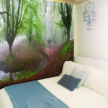 Decorated Wall Hanging Forest Print Tapestry - GREEN W59 INCH * L59 INCH