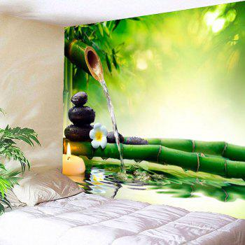 Bamboo Water Stone Print Waterproof Wall Tapestry - GREEN W59 INCH * L51 INCH
