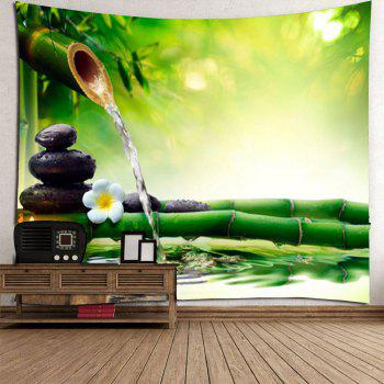 Bamboo Water Stone Print Waterproof Wall Tapestry - GREEN GREEN