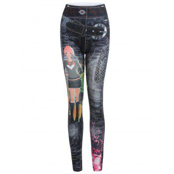 Ankle Length Stretchy Printed Jean Legging