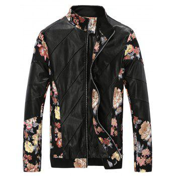 Stand Collar PU Leather Panel Flower Print Jacket