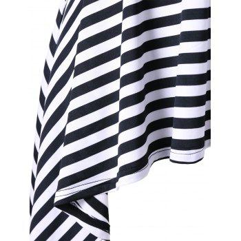 Plus Size High Low Striped Tunic T-shirt - BLACK STRIPE XL