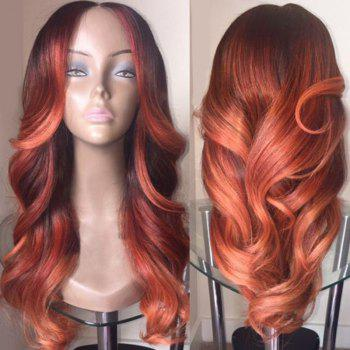Middle Part Colormix Long Wavy Synthetic Wig