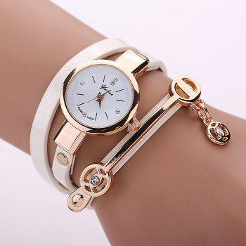 Faux Leather Round Wrap Bracelet Watch