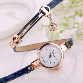 Montre-Bracelet Ronde avec Sangle en Simili Cuir - Bleu