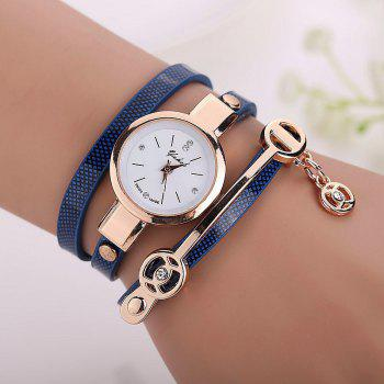 Faux Leather Round Wrap Bracelet Watch - BLUE