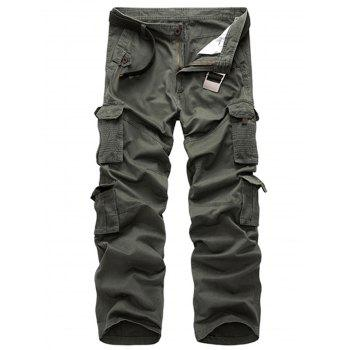 Straight Leg Zipper Fly Multi Pockets Cargo Pants