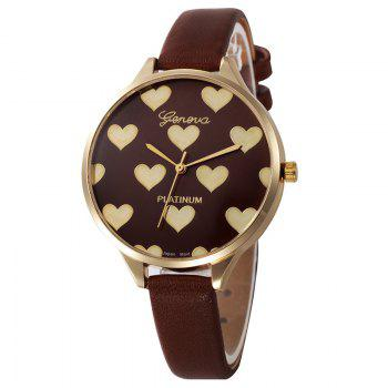 Heart Face Faux Leather Watch