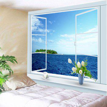 Window Ocean Print Tapestry Wall Hanging Art - BLUE BLUE