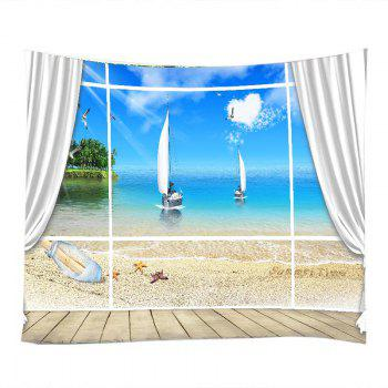 Window Beach Boat Print Tapestry Wall Hanging Art - BLUE W79 INCH * L59 INCH