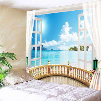 Window Seascape Wall Decor Waterproof Tapestry - LIGHT BLUE W59 INCH * L51 INCH
