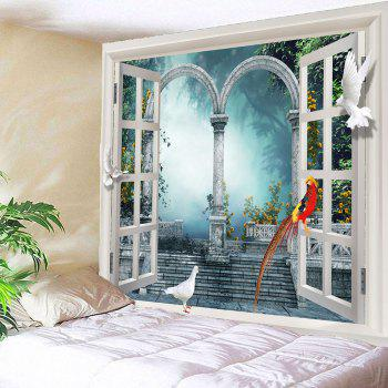 Pigeons Window Scenery Waterproof Tapestry - LIGHT BLUE W79 INCH * L59 INCH