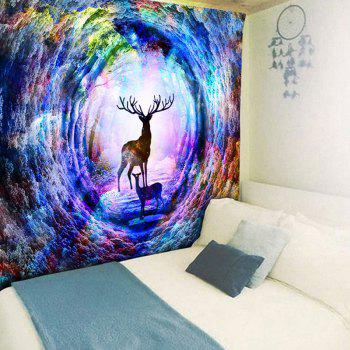 Wall Hanging Tree Hole Deer Print Tapestry - COLORFUL W59 INCH * L51 INCH