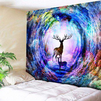 Wall Hanging Tree Hole Deer Print Tapestry - COLORFUL COLORFUL