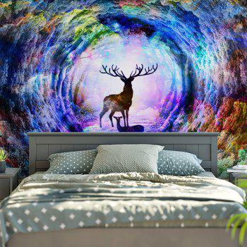 Wall Hanging Tree Hole Deer Print Tapestry - COLORFUL W79 INCH * L59 INCH
