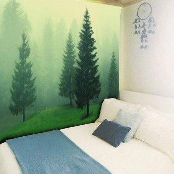 Fog Forest Printed Wall Hanging Tapestry - GREEN GREEN
