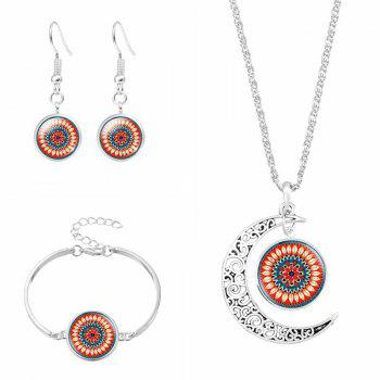Moon Flower Necklace Bracelet with Earring Set