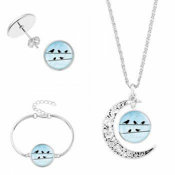 Moon Bird Necklace Bracelet with Earring Set