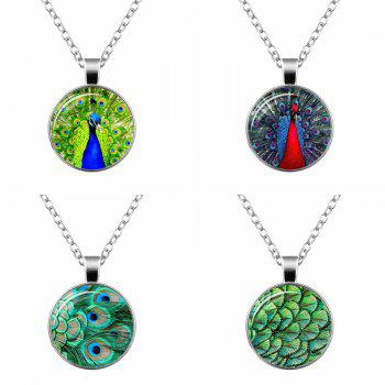 Faux Gemstone Feather Peacock Pendant Necklace - PEACOCK BLUE