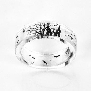 Halloween Castle Bat Resin Transparent Ring - 9 9