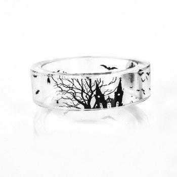 Halloween Castle Bat Resin Transparent Ring