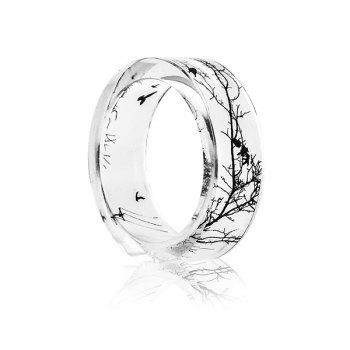 Bird Tree Branch Resin Transparent Ring