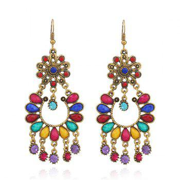 Rhinestone Floral Chandelier Teardrop Earrings