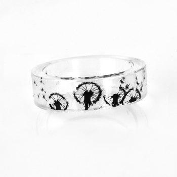 Transparent Dandelion Resin Round Ring - 9 9