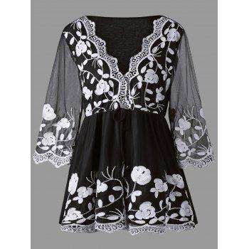 Plus Size Floral Embroidered Lace Panel Blouse