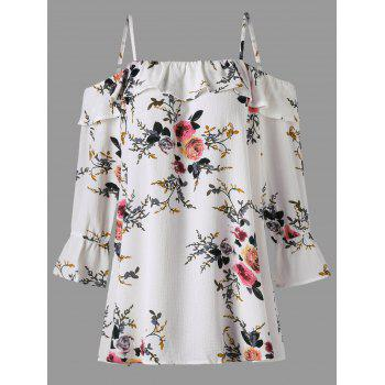 Plus Size Floral Flounce Cold Shoulder Blouse