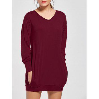 Stylish Plunging Neck Long Sleeve Pocket Design Solid Color Women's Dress