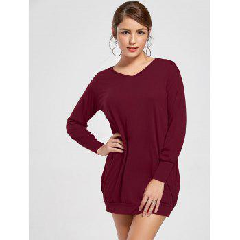 Stylish Plunging Neck Long Sleeve Pocket Design Solid Color Women's Dress - WINE RED XL