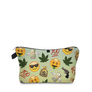 Emoji Printed Makeup Bag - LIGHT GREEN LIGHT GREEN