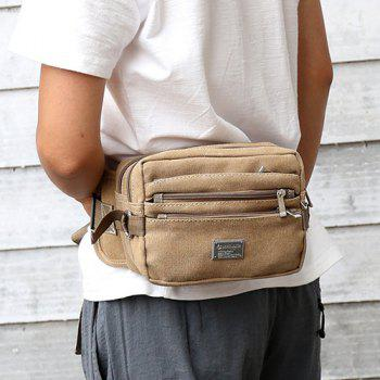 Casual Multi Zips Canvas Waist Bag -  KHAKI