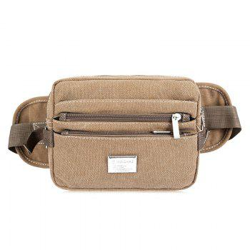 Casual Multi Zips Canvas Waist Bag - KHAKI KHAKI