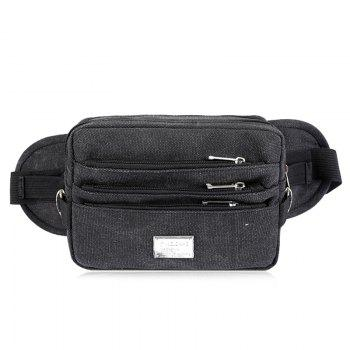 Casual Multi Zips Canvas Waist Bag