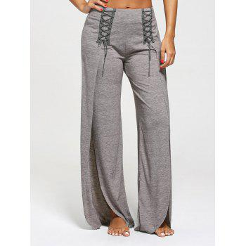 High Slit Palazzo Pants with Lace Ups - GRAY 2XL