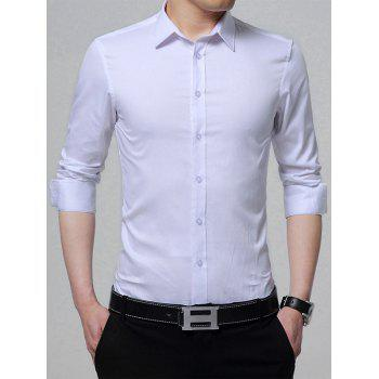 Turndown Collar Long Sleeve Plain Shirt