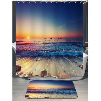 Beach Scenery Printed Shower Curtain and Rug