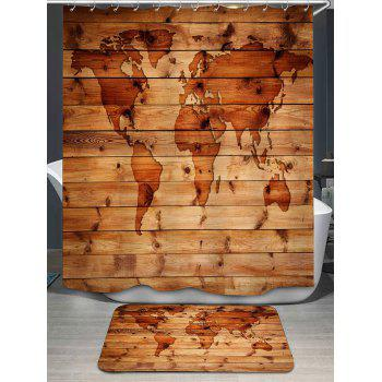 World Map Printed Shower Curtain and Rug