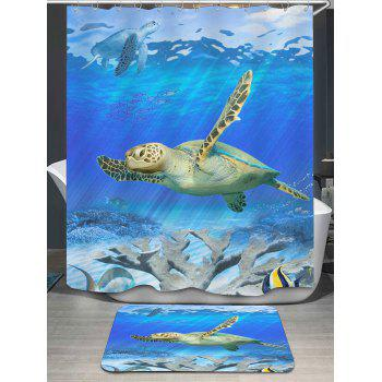 Sea World Turtle Print Bath Curtain and Rug