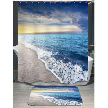 Sea Tides Pattern Shower Curtain and Rug